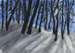 Akvarelový obraz zimnej prírody
