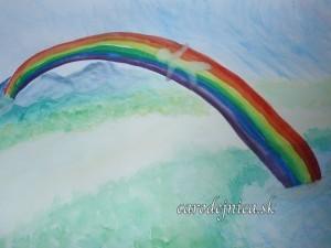 Akvarelový obraz s názvom Most cez prekážky maľovaný arteterapeutickou technikou