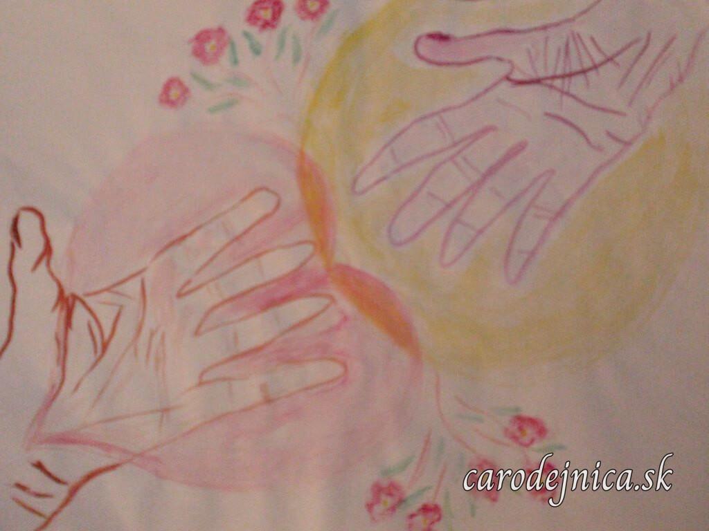 Dve ruky a kvety - akvarelový obraz maľovaný arteterapeutickou technikou