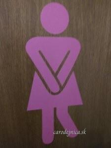 Piktogram ženy v ružovom na dverách