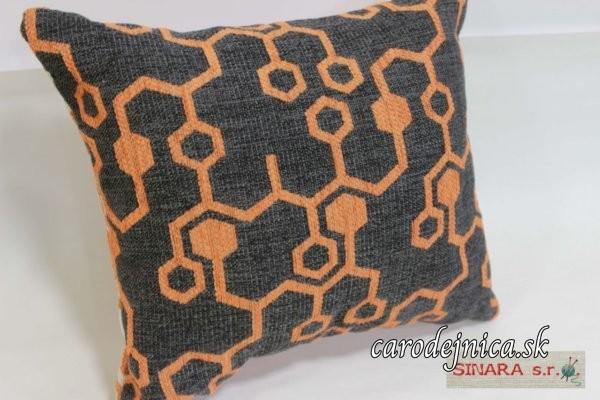 Dvojstranný vankúš s oranžovým vzorom
