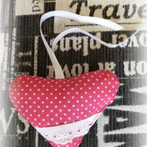 levanduľové hand made srdiečko ružové s bielymi bodkami a bielou stužkou