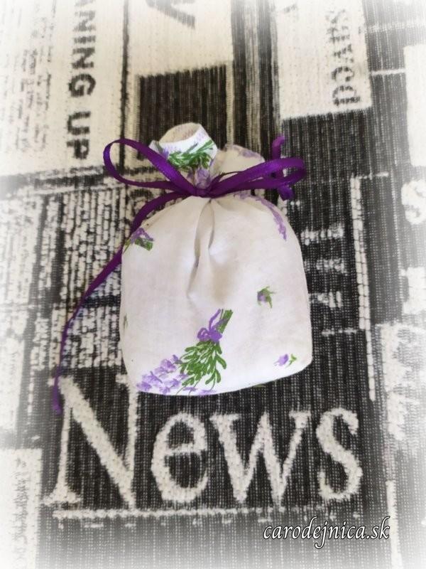 levanduľové vrecúško biele s fialovou stužkou