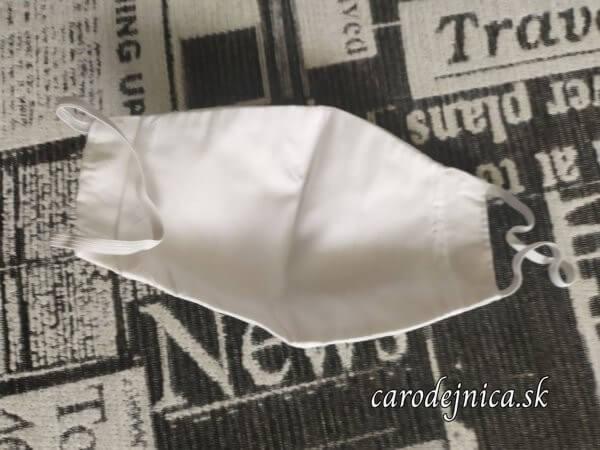 ochranné bavlnené rúško biele s madeirou rub