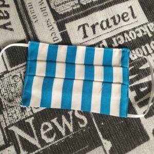 ochranné textilné rúško modro-bielo pruhované