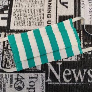 ochranné bavlnené rúško zeleno-bielo pruhované naskladané