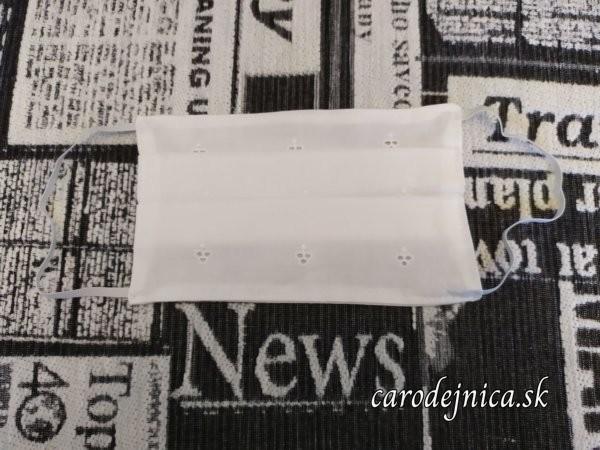 ochranné rúško biela madeira vyšívaná na bavlne