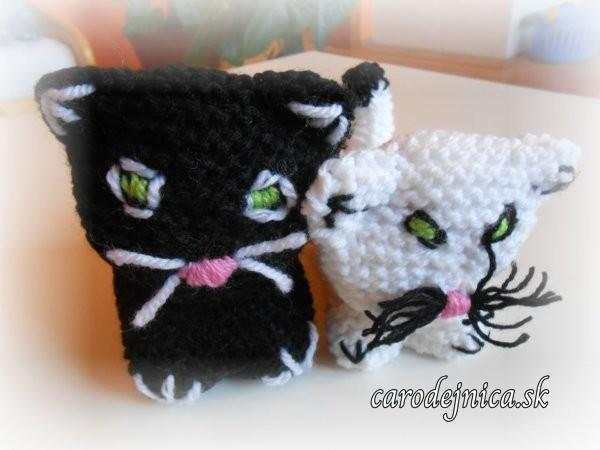 štrikovano-hačkované mačičky - čierna a biela