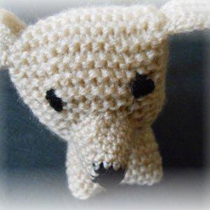 Hand made čaro-hračky - štrikované mini-zvieratká - béžový psík
