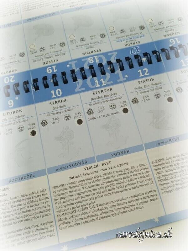 Lunárny kalendár 2021 ukážka textu