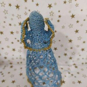 hačkované ozdoby na vianočný stromček - modrý anjel