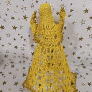hačkované ozdoby na vianočný stromček - žltý anjel