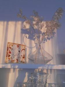 Odraz západu slnka na skle kuchyne